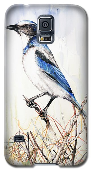 Galaxy S5 Case featuring the mixed media Florida Scrub Jay by Anthony Burks Sr