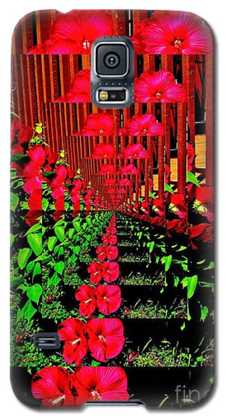 Galaxy S5 Case featuring the digital art Flower Garden Abstract by Marsha Heiken