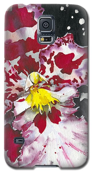 Galaxy S5 Case featuring the painting Flower Orchid 11 Elena Yakubovich by Elena Yakubovich