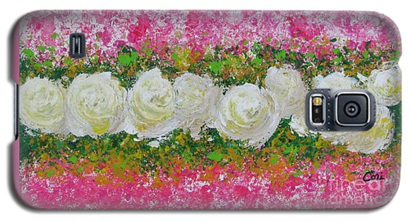 Flowerline In Pink And White Galaxy S5 Case