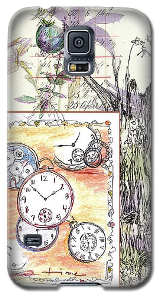 Galaxy S5 Case featuring the drawing Flowers And Time by Cathie Richardson