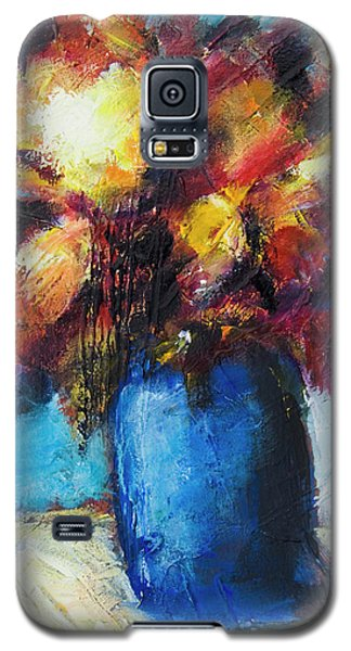 Galaxy S5 Case featuring the painting Flowers In A Blue Vase. by Yulia Kazansky