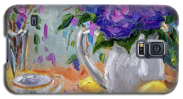 Galaxy S5 Case featuring the painting Flowers Lemons by Jennifer Beaudet