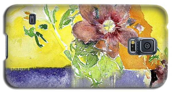 Flowers On A Blue Table Galaxy S5 Case