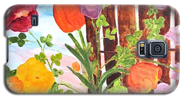 Galaxy S5 Case featuring the painting Flowers On A Fence by Sandy McIntire