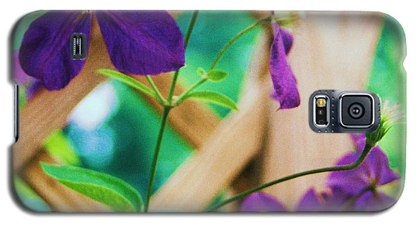 Galaxy S5 Case featuring the painting Flowers Purple by Eric  Schiabor