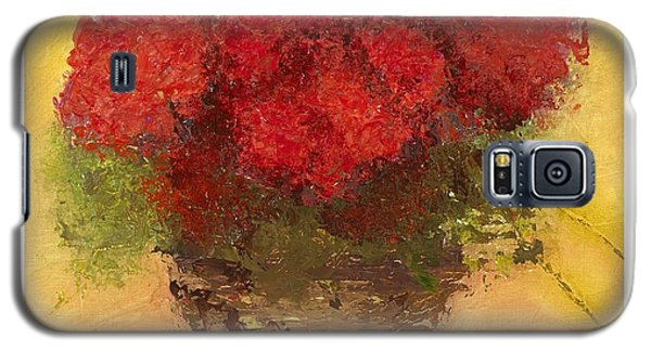 Galaxy S5 Case featuring the mixed media Flowers Red by Marlene Book