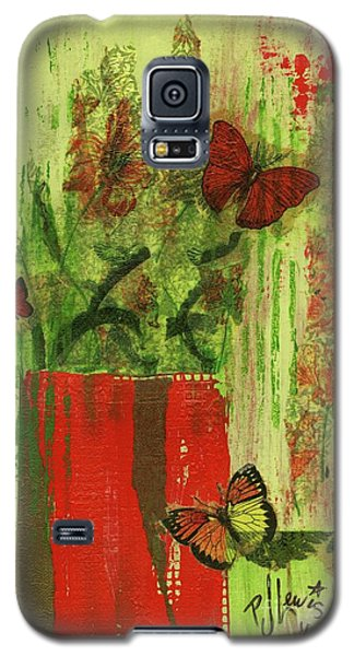Galaxy S5 Case featuring the mixed media Flowers,butteriflies, And Vase by P J Lewis