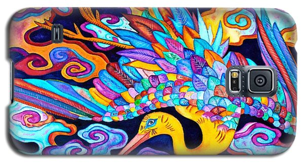 Galaxy S5 Case featuring the painting Flying Crane by Lori Miller