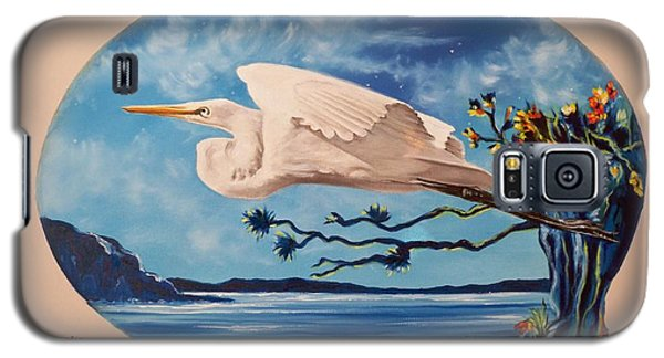 Galaxy S5 Case featuring the painting Flying Egret by Sigrid Tune