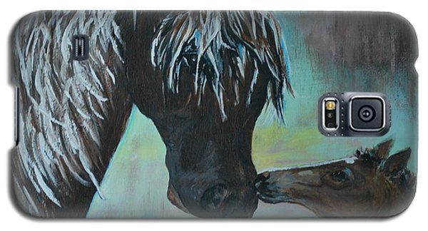 Galaxy S5 Case featuring the painting Foal Kiss by Leslie Allen