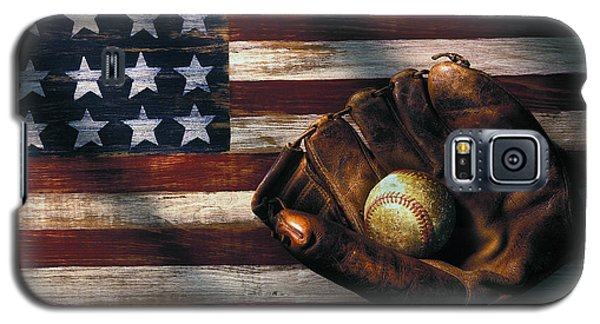 Folk Art American Flag And Baseball Mitt Galaxy S5 Case