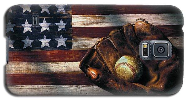 Folk Art American Flag And Baseball Mitt Galaxy S5 Case