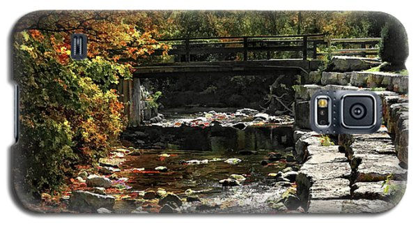 Galaxy S5 Case featuring the photograph Foot Bridge In Autumn by Elaine Manley
