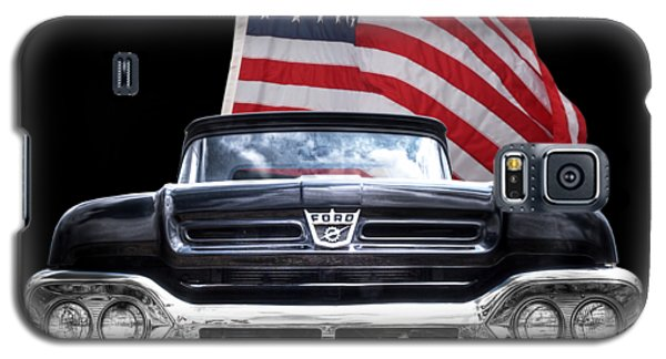 Ford F100 With U.s.flag On Black Galaxy S5 Case