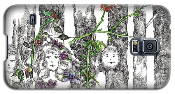 Galaxy S5 Case featuring the drawing Forest Faces by Cathie Richardson