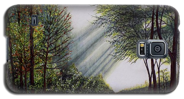 Galaxy S5 Case featuring the painting Forest Pathway by Judy Kirouac