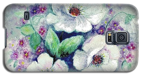 Galaxy S5 Case featuring the painting Forget-me-knots And Roses by Hazel Holland