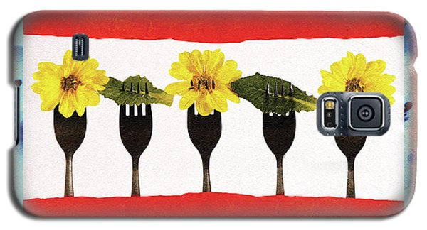 Galaxy S5 Case featuring the digital art Forks And Flowers by Paula Ayers