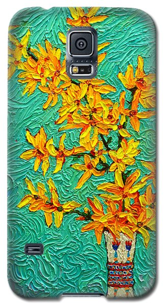 Forsythia Vibration Modern Impressionist Flower Art Palette Knife Oil Painting By Ana Maria Edulescu Galaxy S5 Case