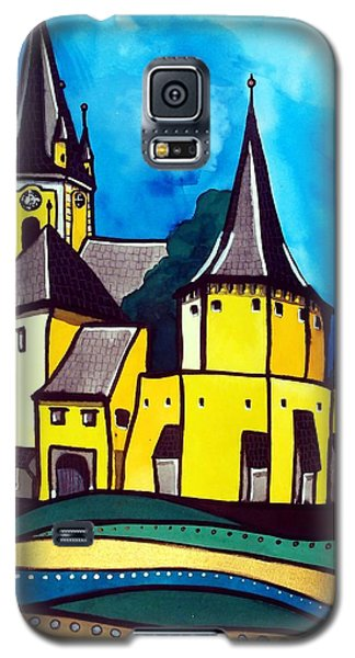 Galaxy S5 Case featuring the painting Fortified Medieval Church In Transylvania By Dora Hathazi Mendes by Dora Hathazi Mendes