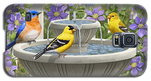 Fountain Festivities - Birds And Birdbath Painting Galaxy S5 Case by Crista Forest