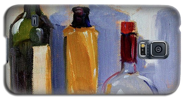 Galaxy S5 Case featuring the painting Four Bottles by Nancy Merkle