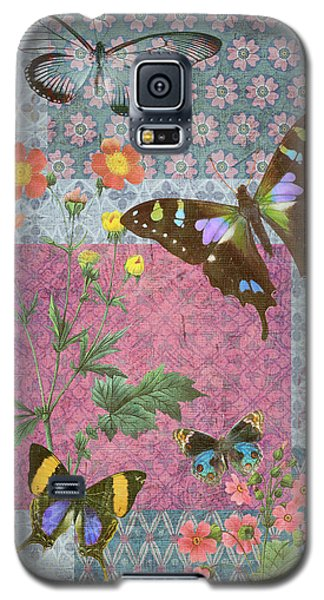 Four Butterfly Patch Blue Galaxy S5 Case