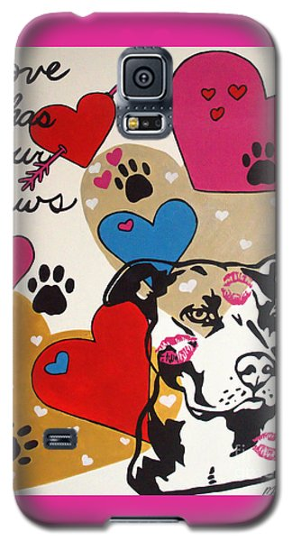 Galaxy S5 Case featuring the painting Four Pitty Paws by Melissa Goodrich