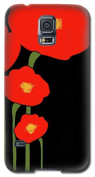 Four Red Flowers On Black Galaxy S5 Case
