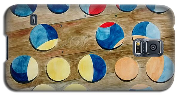 Galaxy S5 Case featuring the painting Four Rows Of Circles On Wood by Andrew Gillette