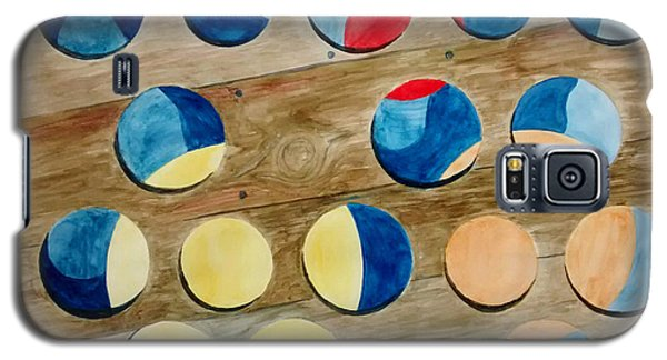Four Rows Of Circles On Wood Galaxy S5 Case