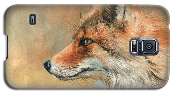 Galaxy S5 Case featuring the painting Fox Portrait by David Stribbling
