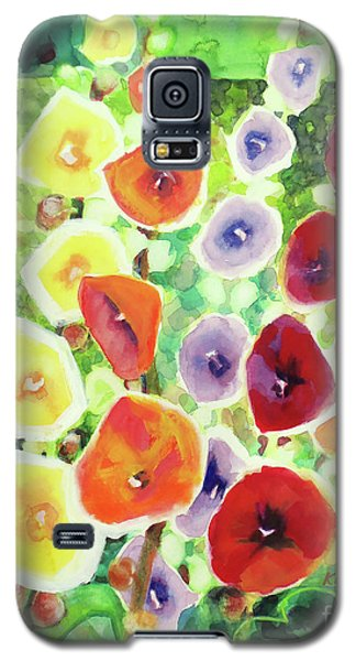 Galaxy S5 Case featuring the painting Framed In Hollyhocks by Kathy Braud