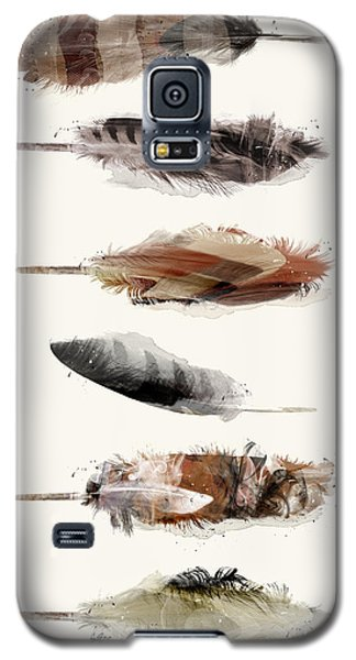 Galaxy S5 Case featuring the painting Free Fall Feathers by Bri B