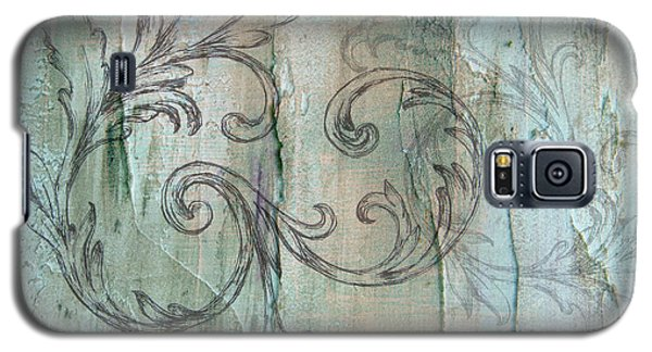 French Country Scroll In Muted Blue Galaxy S5 Case
