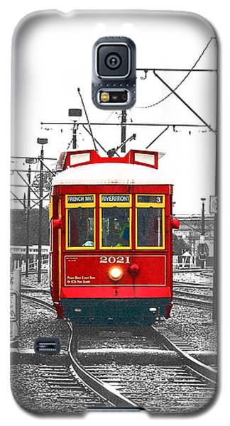 French Quarter French Market Cable Car New Orleans Color Splash Black And White With Film Grain Galaxy S5 Case by Shawn O'Brien