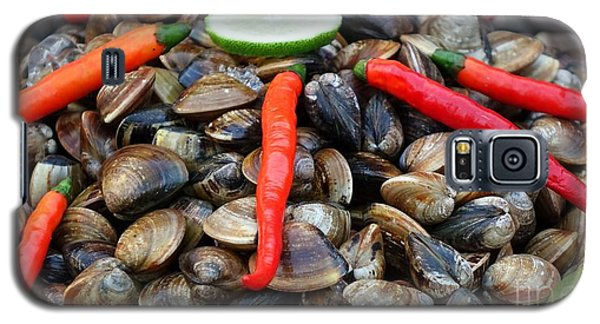 Galaxy S5 Case featuring the photograph Fresh Clams With Chilies And Limes by Yali Shi