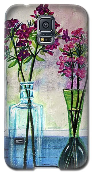 Galaxy S5 Case featuring the painting Fresh Cut Flowers In The Window by Patricia L Davidson