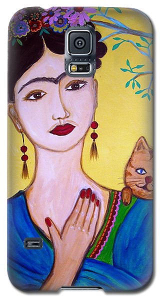 Frida And Her Cat Galaxy S5 Case by Pristine Cartera Turkus
