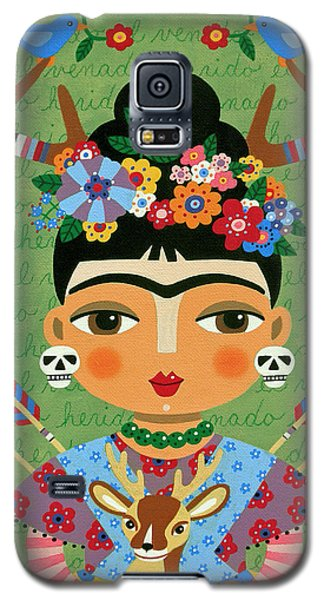 Galaxy S5 Case Featuring The Painting Frida Kahlo With Antlers And Deer By LuLu Mypinkturtle