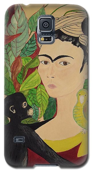 Frida With Monkey And Bird Galaxy S5 Case by Stephanie Moore