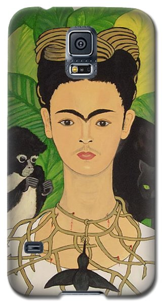 Frida With Monkey And Cat Galaxy S5 Case by Stephanie Moore