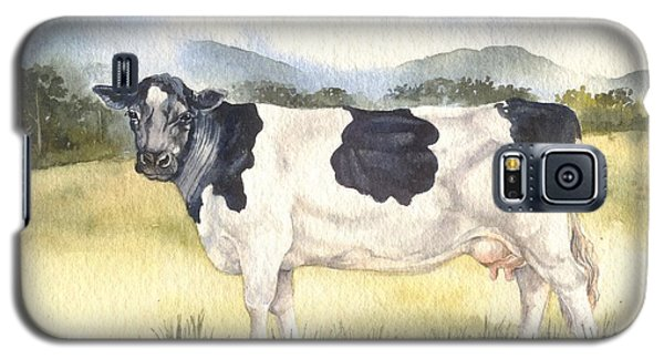 Galaxy S5 Case featuring the painting Friesian Cow by Sandra Phryce-Jones