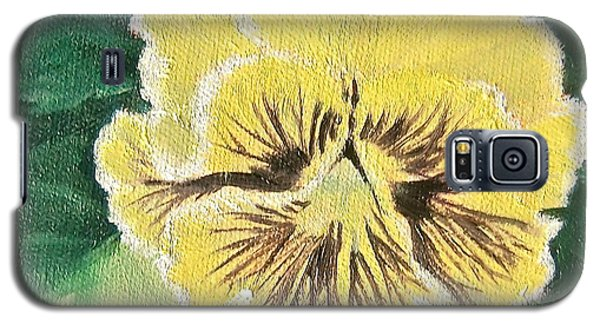 Galaxy S5 Case featuring the painting Frilly Yellow Pansy by Bonnie Heather