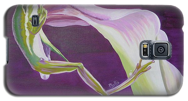 Galaxy S5 Case featuring the painting Frog And His Flower by Phyllis Kaltenbach