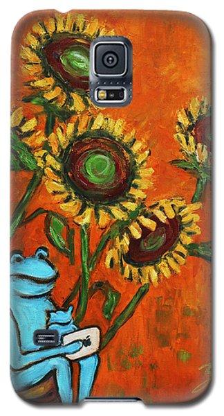 Frog I Padding Amongst Sunflowers Galaxy S5 Case by Xueling Zou