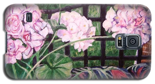 Galaxy S5 Case featuring the painting Front Porch Flowers by Laura Aceto