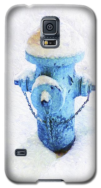 Galaxy S5 Case featuring the photograph Frozen Blue Fire Hydrant by Andee Design