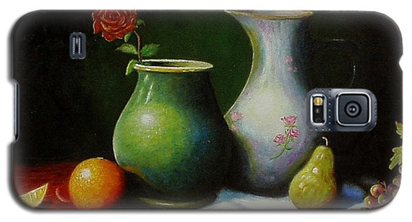 Galaxy S5 Case featuring the painting Fruit And Pots. by Gene Gregory